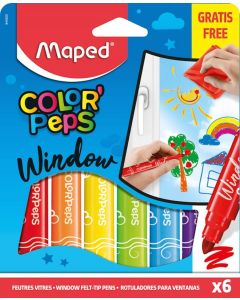 Maped Color'Peps Window Marker Felt Colouring Pens (Pack of 6)