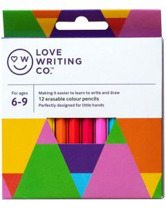 Love Writing Co. Erasable Colouring Pencils - pack of 12 - Ages 6-9