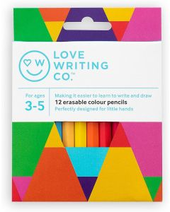 Love Writing Co. Erasable Colouring Pencils - pack of 12- Ages 3-5
