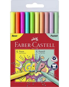 Faber-Castell Grip Colour Marker neon + pastel set/10