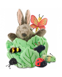 Rabbit in Lettuce Puppet with 3 Bugs