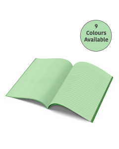 A4 - 10mm Lined Alternate Pages Tinted Paper Project Book (Green Cover)