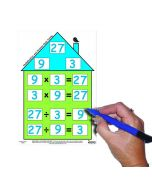 Number Facts House - Multiplication/Division (Pack of 5 with free dry-wipe pen)